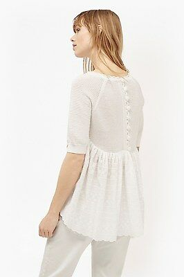French Connection Celia Scallop Knitted White Jumper Size Small RE077 DD 01