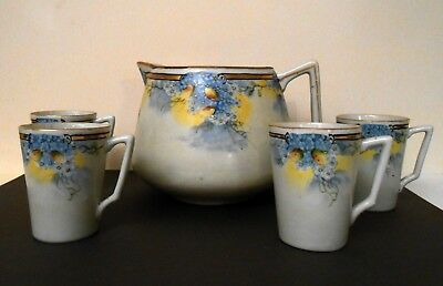Large Rare Antique HAND PAINTED CIDER or LEMONADE PITCHER & CUPS, 1891-1921