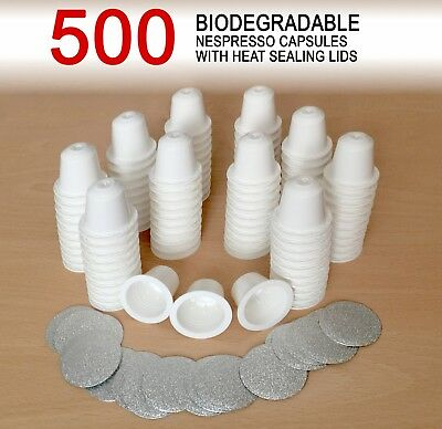500 Empty Biodegradable Nespresso Coffee Capsules + Heat Sealing Lids