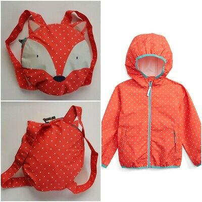Boden Girls Waterproof Rain Jacket Pac-A-Mac Fox Back Pack Age 2-10 Bnwot