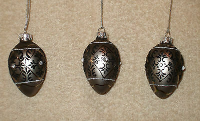 3 Jeweled Glass DARK GRAY & BLACK EGG Christmas Ornaments - NEW