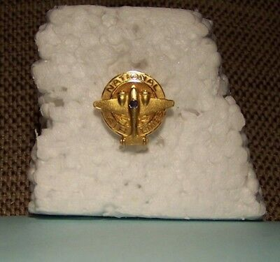 1940's NATIONAL AIRLINES 15 Year Service Pin in 10k gold w/sapphire by Balfour