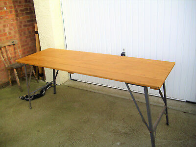 Vintage Wooden Pine Trestle Table Folding Metal Legs Party Display Christmas