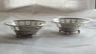 Pair of Beautiful Matching Solid Silver Dishes B'ham 1910 by William Hutton