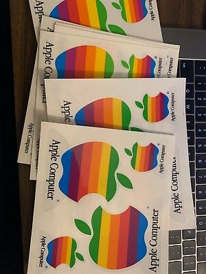 1990s Vintage Apple Stickers with Classic Apple Rainbow Logo