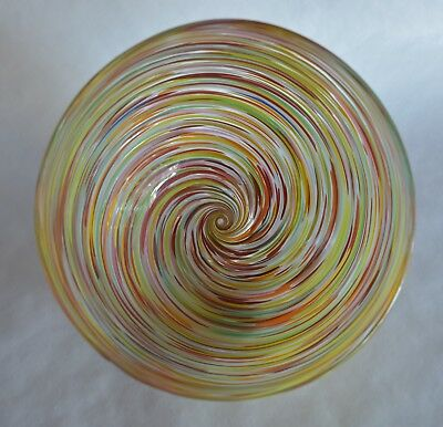 Hand Blown Glass Art Bowl - Spiral Threaded Color on Outside - Beautiful -Signed