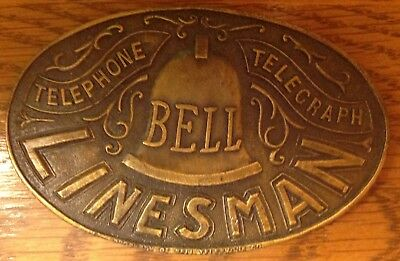 Bell Telephone-Telegraph Linesman Belt Buckle By Indiana Metal Craft