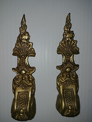 Pair of Antique French Gorgeous Bronze PLAQUES FINIALS MOUNTS