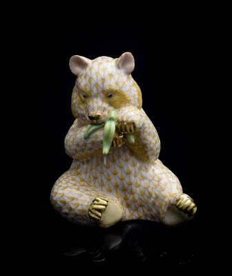 Herend Porcelain Figurine Panda Eating Bamboo, VHJM---15348, Yellow Fishnet