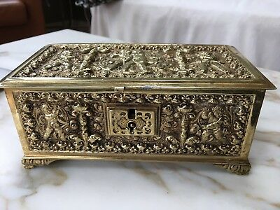 Antique Finely Cast Spanish Brass Or Bronze Jewelry Box