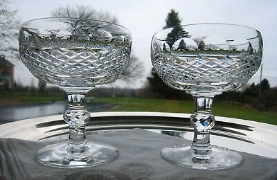 """Waterford Irish Crystal.. Colleen Pattern..two 4 3/8"""" Coupe Champagnes.. Signed."""