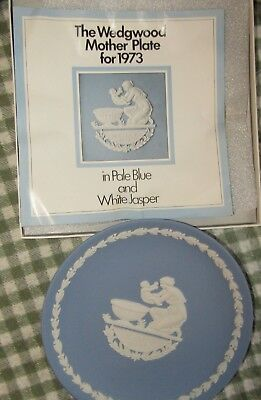 "Vintage Wedgwood Mother 6.5"" Plate Pale Blue White Jasper in Box 1973"