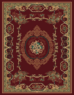 "RED burgundy EUROPEAN area rug 2x8 runner FRENCH carpet : Actual 1' 11"" x 7' 4"""