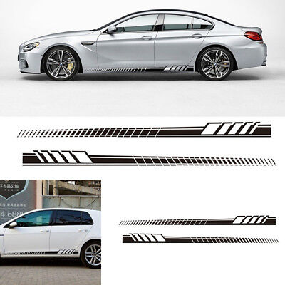 Auto Car Side Body Long Stripe Vinyl Decals Black Decoration Sticker Waterproof