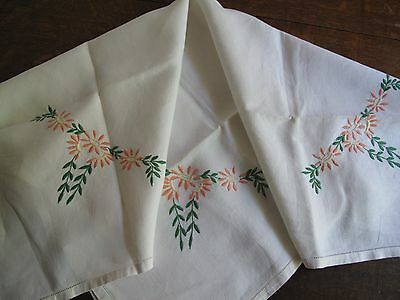 TABLECLOTH Vintage Hand Embroidered Irish Linen peach flowers