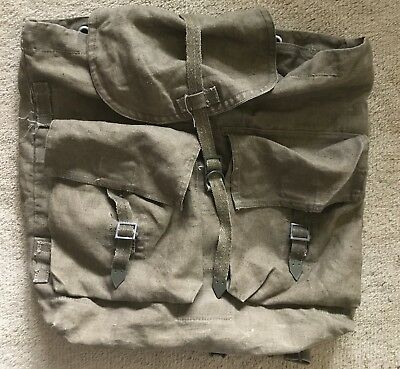 Vintage Military Style Heavy Duty Canvas Backpack Straps Buckles Army Green