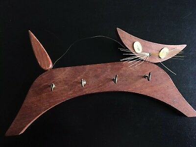 Vintage Teak Made In Denmark Cat Key Holder Mid Century Modern Kitsch