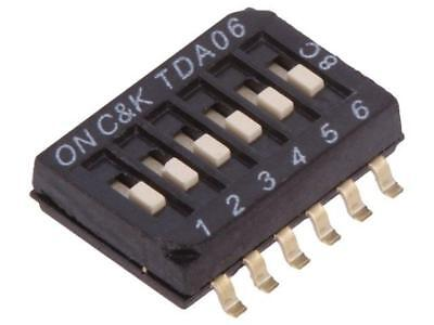 TDA06H0SB1 Switch DIP-SWITCH Poles number6 OFF-ON 0.025A/24VDC 100MΩ