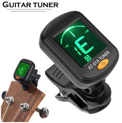 LCD Electronic Digital Guitar Tuner Clip-on for Chromatic Bass Violin Ukulele