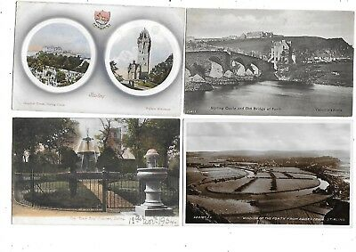 STIRLING Postcard Lot 5 Early Stirlingshire Black Boy Fountain Castle Forth etc