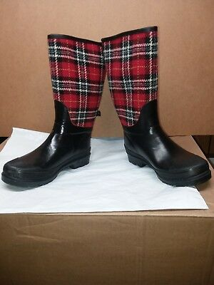 Target Womens 7-7.5 Rainboots Red Black Checkered Rubber Boots NWT