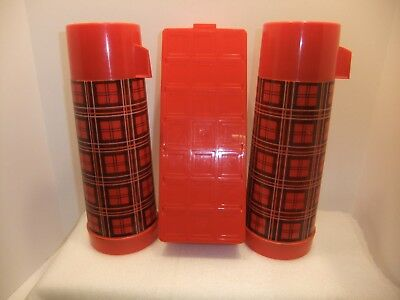 RED VINTAGE PLAID THERMOS PICNIC SET CARRY CASE Sandwich Box VERY NICE!!