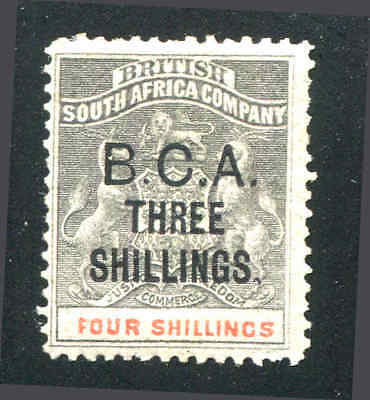 British Central Africa 1893 3s. on 4s. Grey-Black & Vermilion, MH SG#18 Sc#18