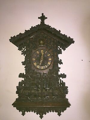 Extreme Rare Black Forrest Double Fusee Cuckoo Clock With Wall Bracket By Beha