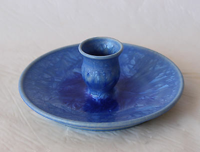 ROD PAGE Australian Pottery BLUE CRYSTALLINE Candle Holder