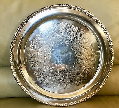 "Vintage WM Rogers Silver Plated Large 15"" Round Serving Tray Platter # 272"