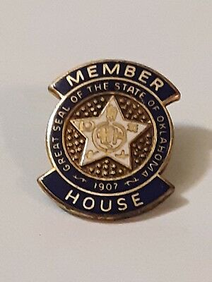 Vintage Gold Filled & Enamel STATE OF OKLAHOMA HOUSE MEMBER Lapel Pin