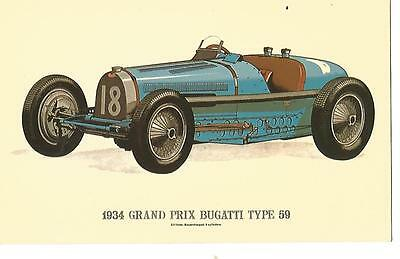 Postcard - 1934 Grand Prix Bugatti Type 59 - c1960s