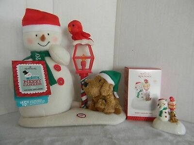 Hallmark Merry Carolers Trio - Snowman, Dog & Cardinal - Plush & Ornament 2013