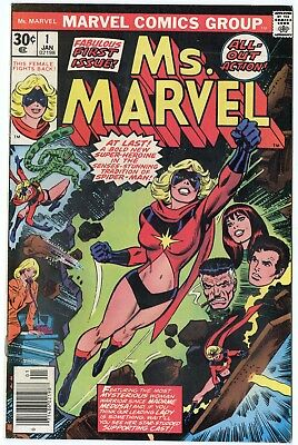 Ms. Marvel #1 VF/NM 9.0 ow/white pages  Marvel  1977  No Reserve