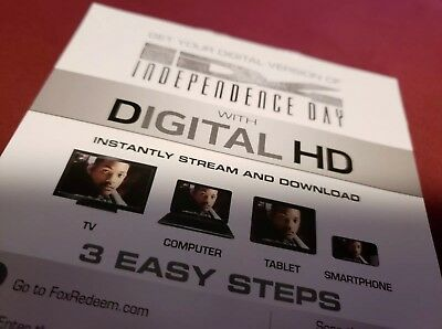 Independence Day Digital Code ONLY Taken From 4k Disc