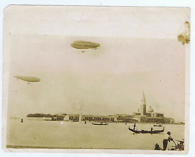 2 AIRSHIPS Italian Military Derigibles Photographed flying over the Lido VENICE