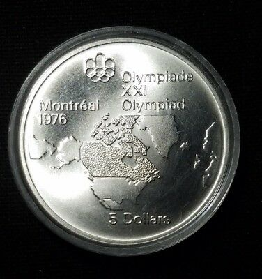 """1973 Canada Montreal 1976 Olympic $5 Silver Coin   """" We Combine Shipping """""""