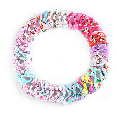 2/5/10Pcs Kids Unicorn Pattern Grosgrain Hair Bows Clip Girl Hair Accessories