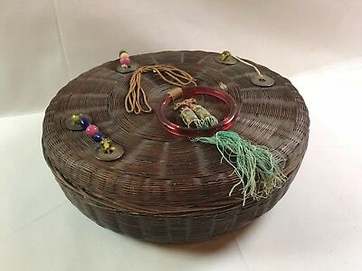 """Vintage 10"""" Chinese Woven Sewing Basket Red Glass Ring & Beads Full of Buttons"""