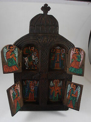 Mexican Folk Art Hand Painted Diptych Icon Religious Nicho Wall Hanging