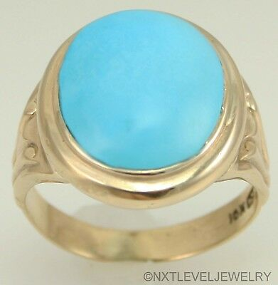 Antique Art Deco RARE Natural Persian Turquoise 10k Solid Yellow Gold Mens Ring