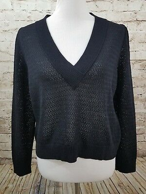 St John Collection by Marie Gray Sweater Black Size 8 Long Sleeve V Neck