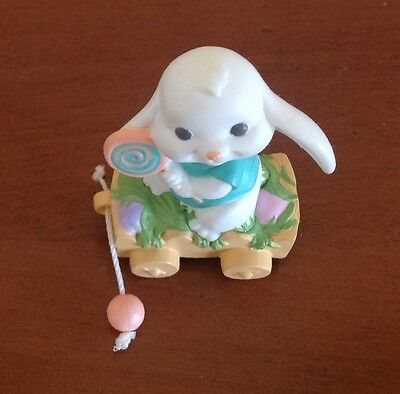Hallmark Easter Merry Miniature ~1989 Bunny in a Wagon ~ with Gold Sticker