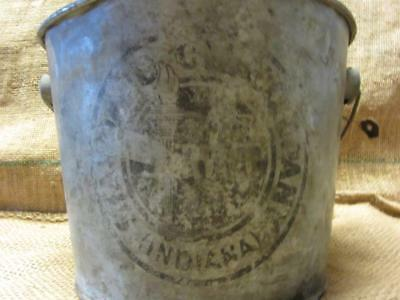 Vintage Galvanized Standard Oil Grease Metal Bucket > Antique Old Pail Pot 9847