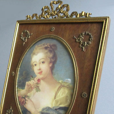 Antique FRENCH Frame GILT Brass Flowing BOW Crown ROSE Wreaths + Bow Ornaments