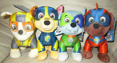 "Paw Patrol Mighty Pups Plush Set 8"" Nwt Exclusive Chase Zuma Rubble Marshall"