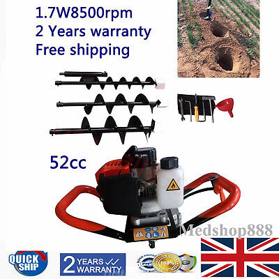 52cc Petrol Earth Auger Digger 2.3HP Post Hole Borer Ground Drill 3 Drill bits