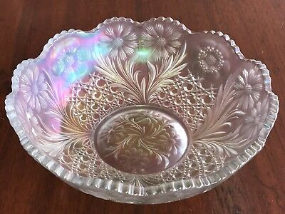 Imperial Carnival Glass Bowl Cosmos & Cane