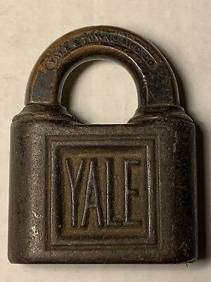 Vintage Antique Yale & Towne Padlock With Shamrock Design No Key Stamford Conn
