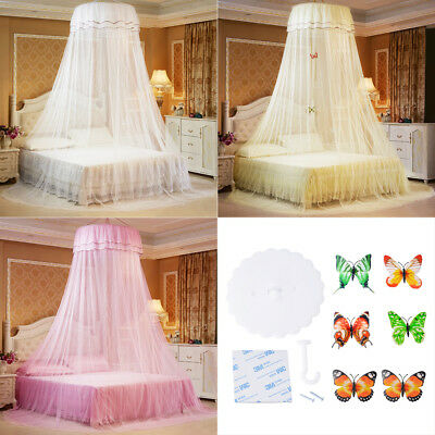 Mosquito Net Round Lace Curtain Dome Bed Elegant Princess Single Entry Netting